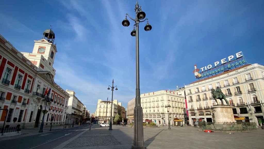 La Puerta del Sol de Madrid durante el confinamiento en pleno estado de alarma.