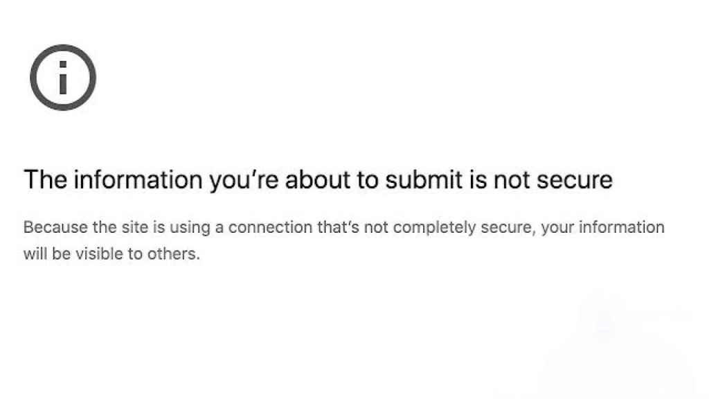Advertencia de Google Chrome.
