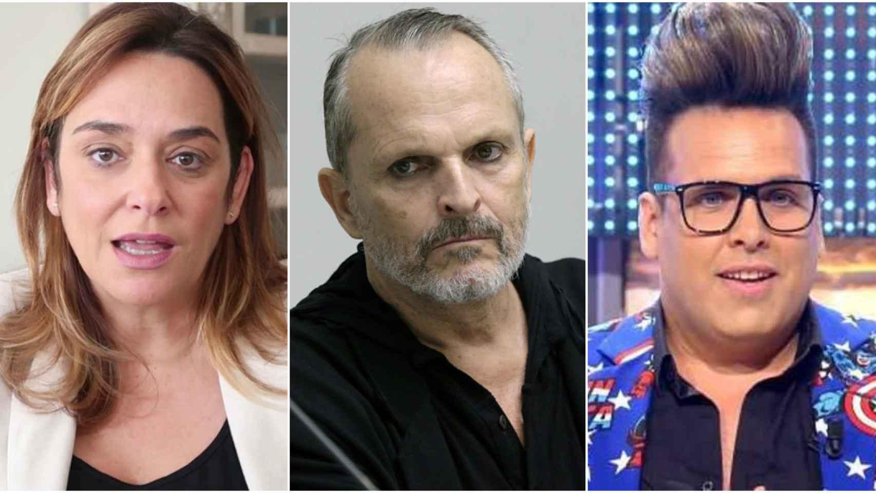 Toñi Moreno, Miguel Bosé y Torito en montaje de JALEOS.