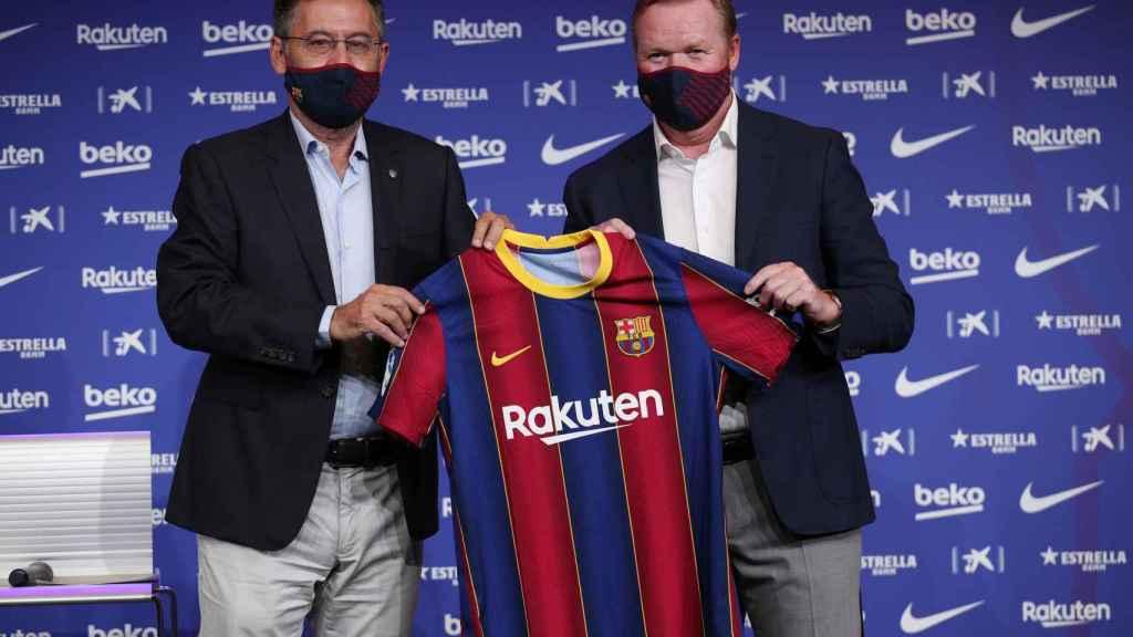 Bartomeu y Koeman en su presentación con el Barcelona