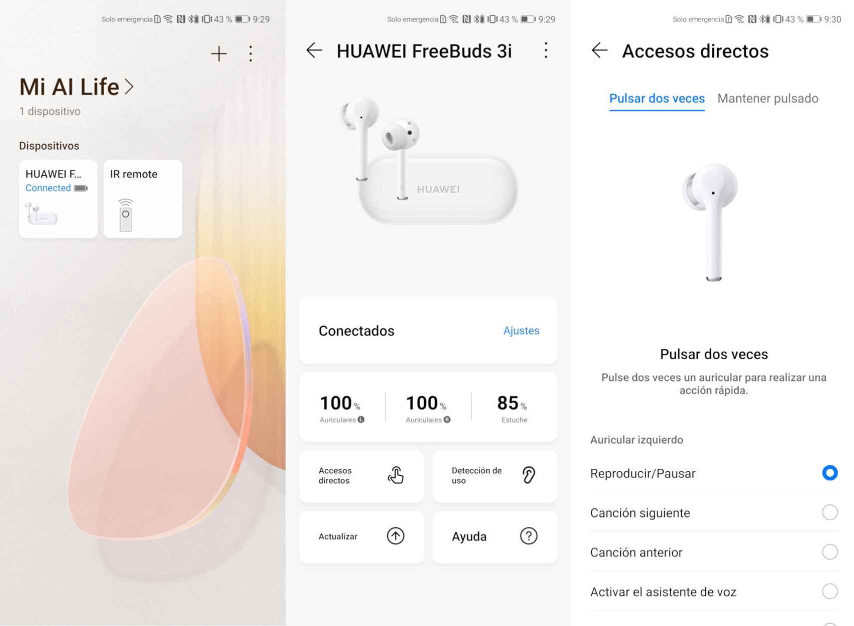 La app AI Life nos permite configurar los Huawei FreeBuds 3i