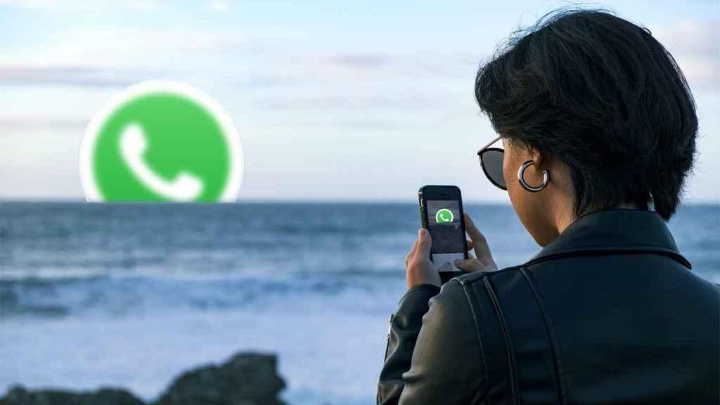Sacando fotos al logo de WhatsApp.