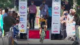Wout Van Aert, tomando la salida de la prueba cronometrada de los Campeonatos de Ciclismo en Bélgica