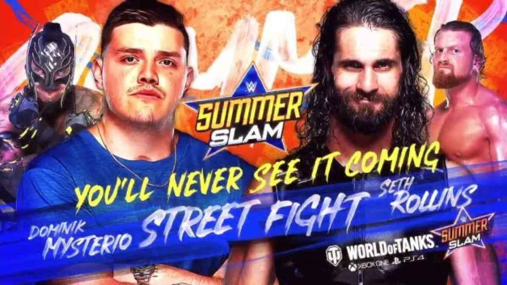 Cartel promocional de la lucha entre Dominik Mysterio y Seth Rollins