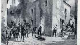 Ilustración del incendio de Medina del Campo.