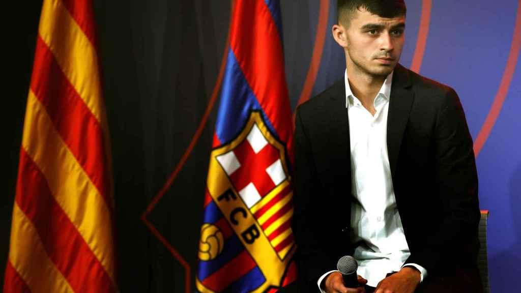 'Pedri' en su presentación como nuevo jugador del Barça