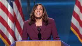 La senadora Kamala Harris en la Convención Nacional Demócrata.