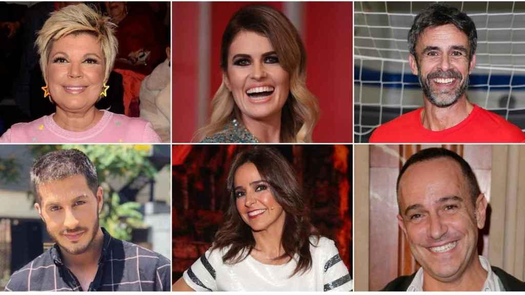 Terelu Campos, Adriana Abenia, Alonso Caparrós, Nando Escribano, Carmen Alcayde y Víctor Sandoval en un montaje de Jaleos.