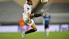 Jesús Navas durante el partido del Sevilla