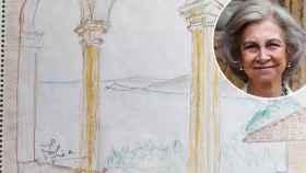 Dibujo de la reina Sofía sobre lo que ve desde el palacio de Marivent.