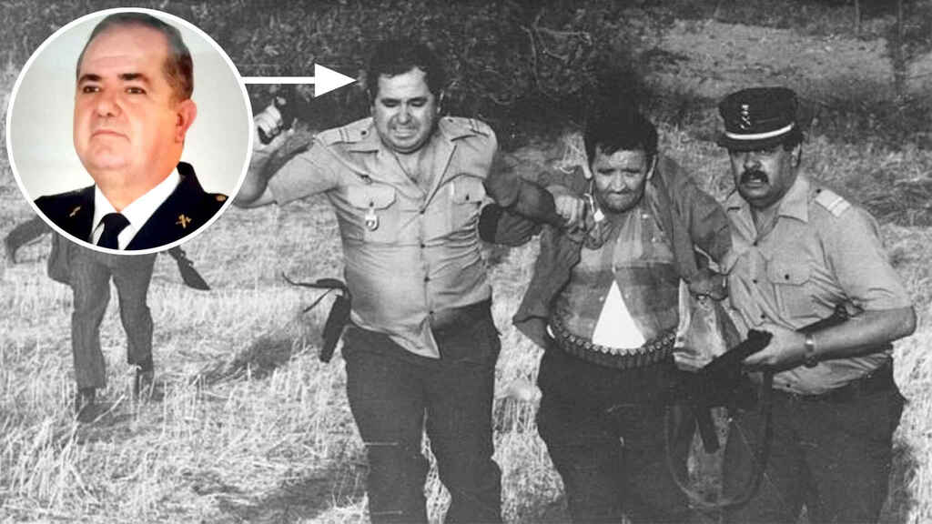 Blas Molina (en el redondel izquierda arriba) y Emilio Izquierdo poco después de ser detenido tras la matanza de Puerto Hurraco, en 1990.