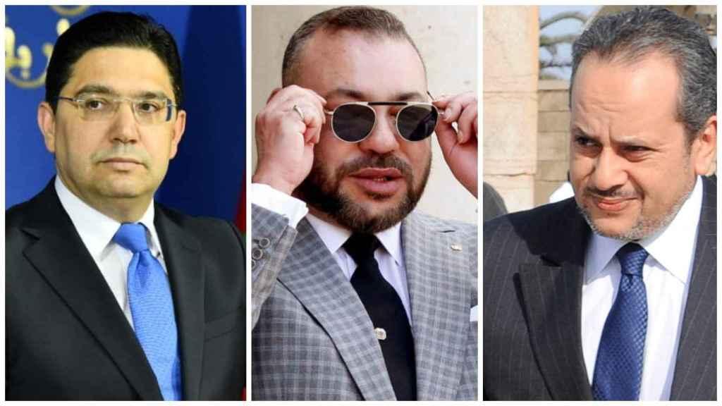 El ministro de Exteriores Nasser Bourita, el Rey Mohamed VI y Yassin Mansouri, en la Dirección General de Documentación.