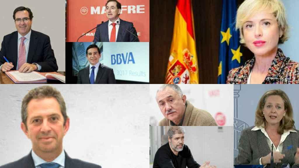 Antonio Garamendi, Antonio Huertas, Carlos Torres, Carme Artigas, Íñigo Fernández de Mesa, Pepe Álvarez, Unai Sordo y Nadia Calviño.