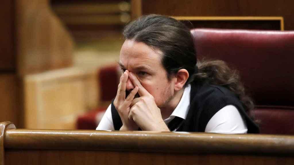 El líder de Podemos Pablo Iglesias, en el Congreso de los Diputados.