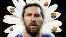 Leo Messi, durante un partido de esta temporada en un fotomontaje