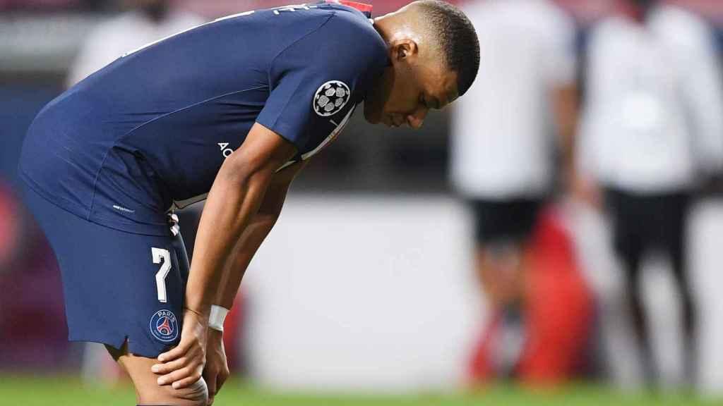 Kylian Mbappé, abatido tras la final de la Champions League