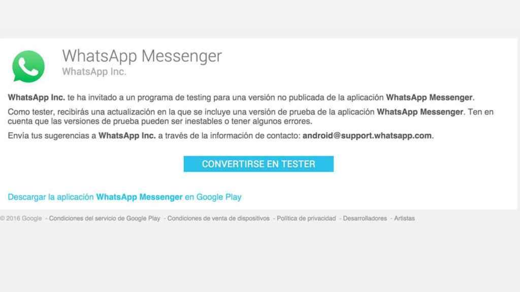 WhatsApp Beta en la Play Store