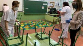 Imágenes de un colegio durante la pandemia.