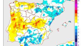 El mapa de las temperaturas mínimas en España.
