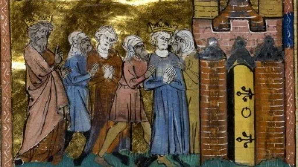 Miniatura medieval que representa la captura de Luis por los ayubíes en abril de 1250.