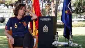 Irene Lozano, con la camiseta de la selección española de fútbol, durante el acto del décimo aniversario