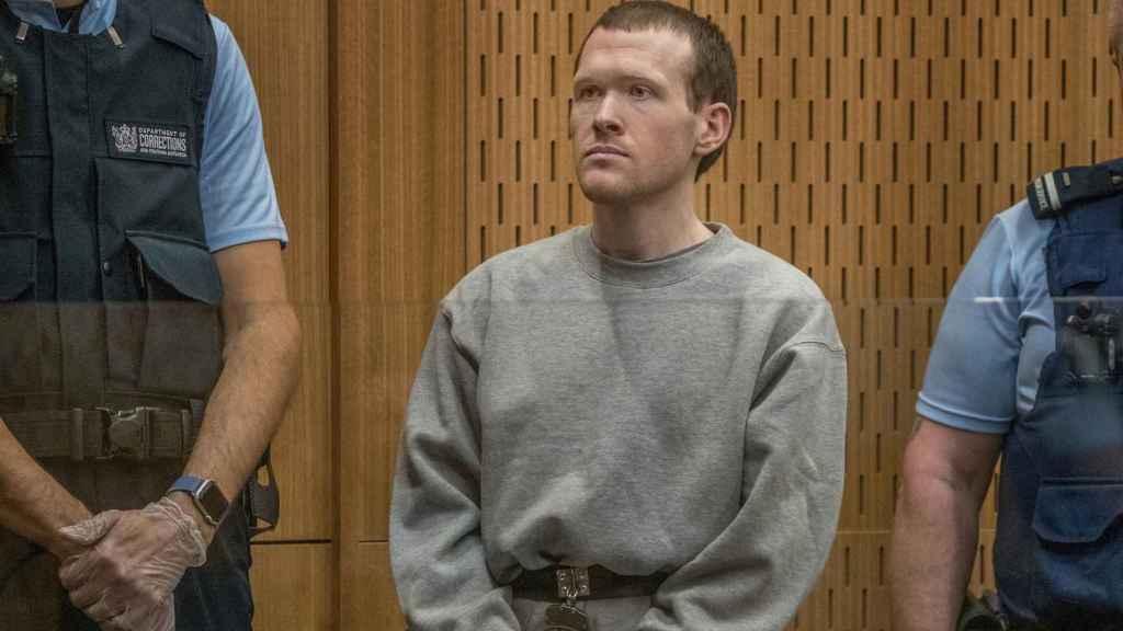 El terrorista Brenton Tarrant durante el juicio.