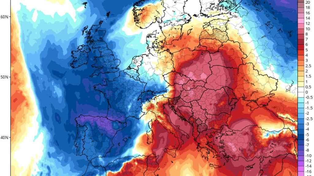 Mapa de anomalías de temperaturas previstas para el fin de semana.