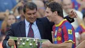 Laporta y Messi, juntos en el Barcelona en el año 2010
