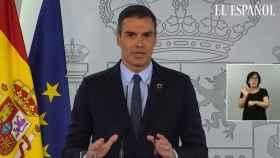Pedro Sánchez durante su comparecencia de este martes.