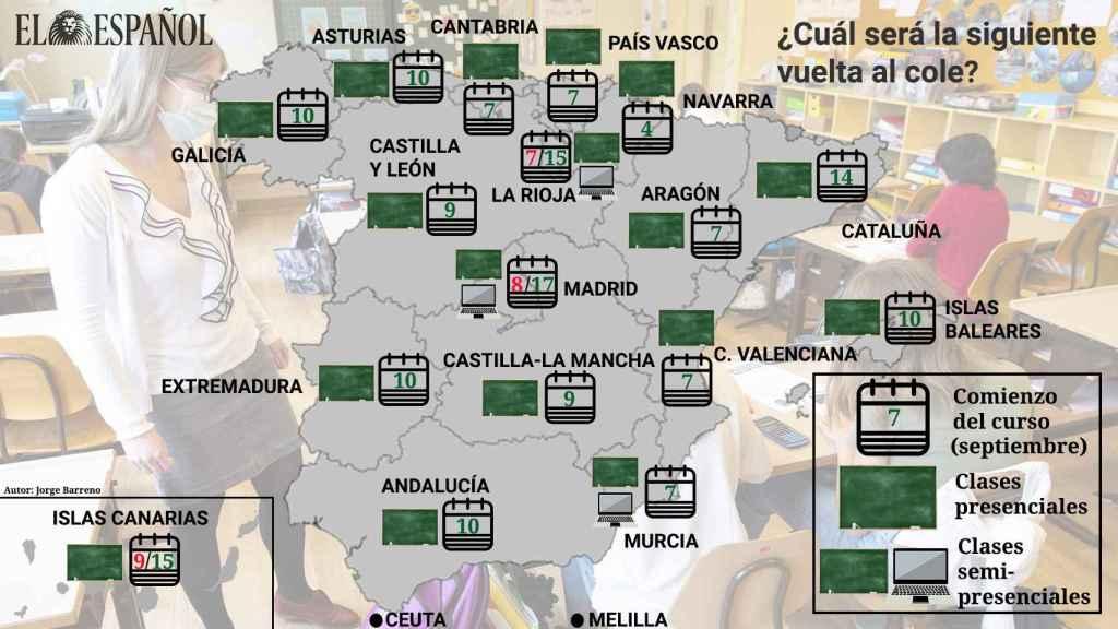 Mapa fechas vuelta al cole por comunidades.