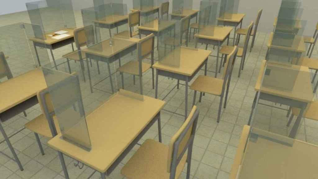 Imagen 3D de cómo serán las aulas de El Rubio gracias a las mamparas de DFABRIK