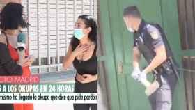 A la izquierda, la periodista y la okupa. A la derecha, la Policía Nacional desalojando la casa.