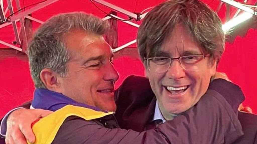 El expresidente del Barça, Joan Laporta, junto a Puigdemont.
