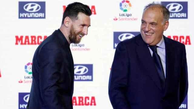 Leo Messi y Javier Tebas, en la entrega del premio pichichi de 2018