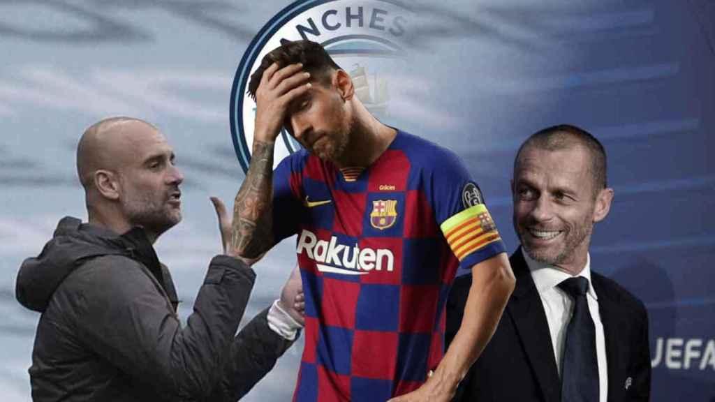 Pep Guardiola, Leo Messi y Aleksander Ceferin
