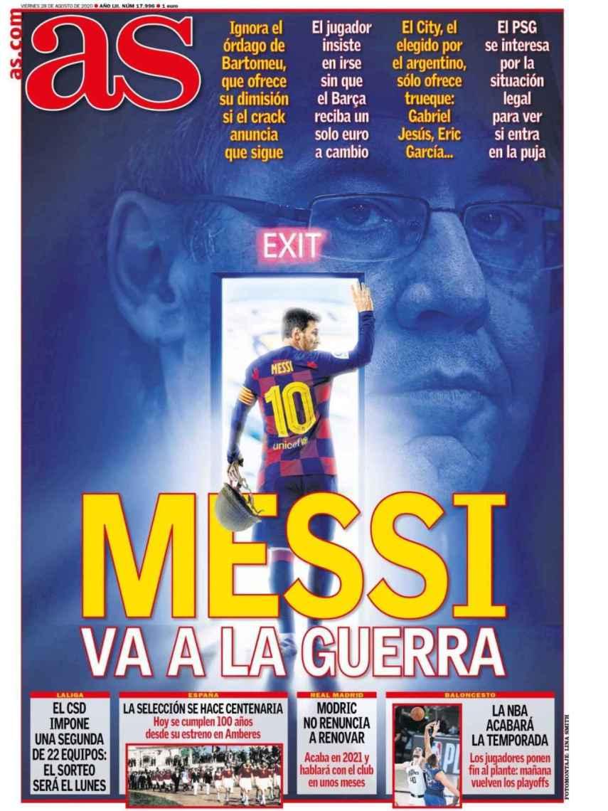 La portada del diario AS (28/08(2020)