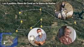 Mapa de los ocho pueblos onubenses sin contagios.