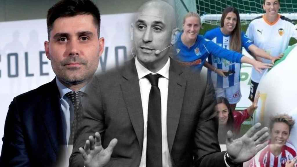 David Aganzo, Luis Rubiales y varias de las jugadoras de la Primera Iberdrola