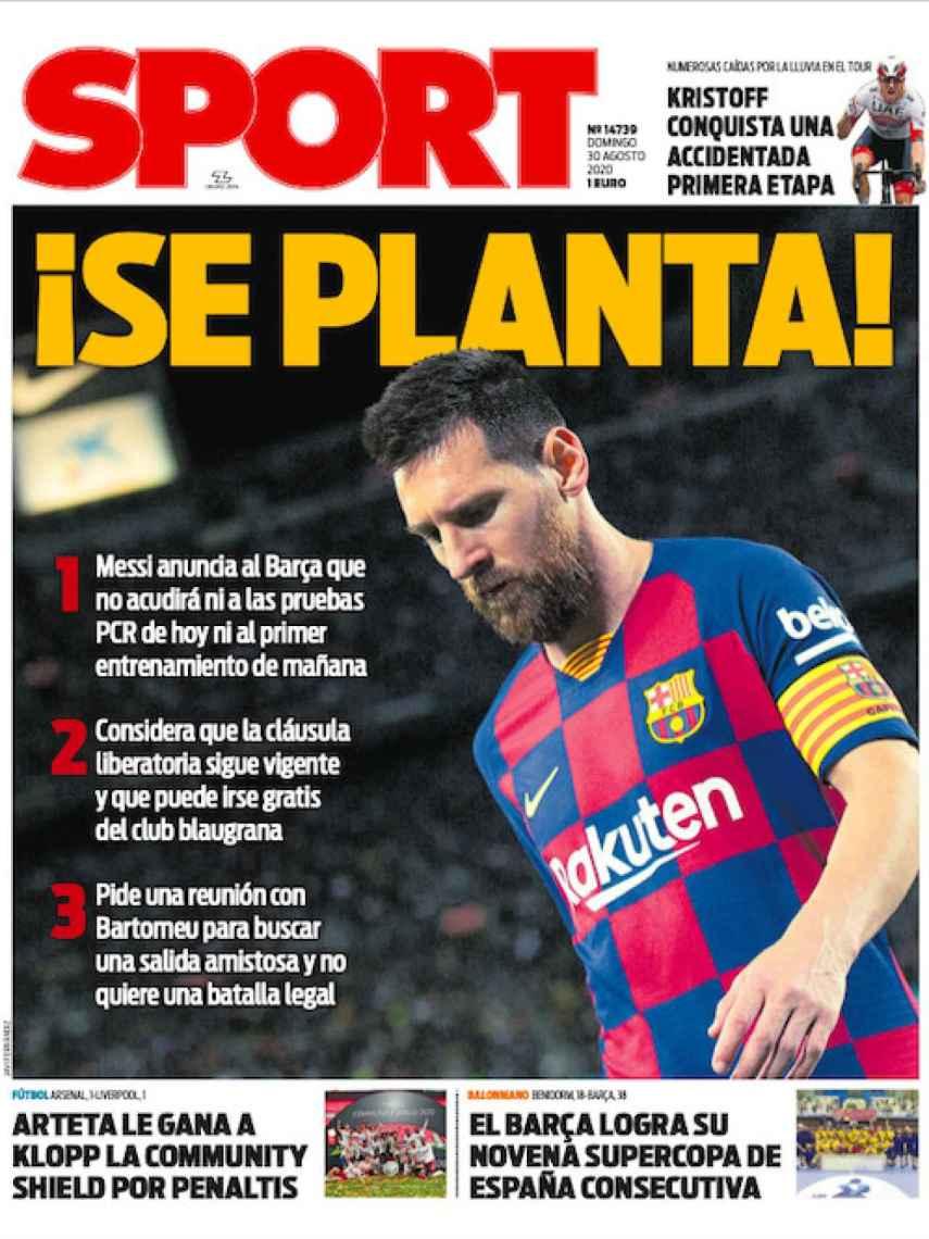 La portada del diario SPORT (30/08/2020)