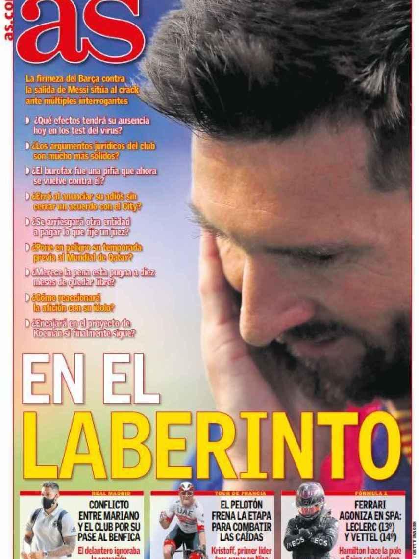 La portada del diario AS (30/08/2020)
