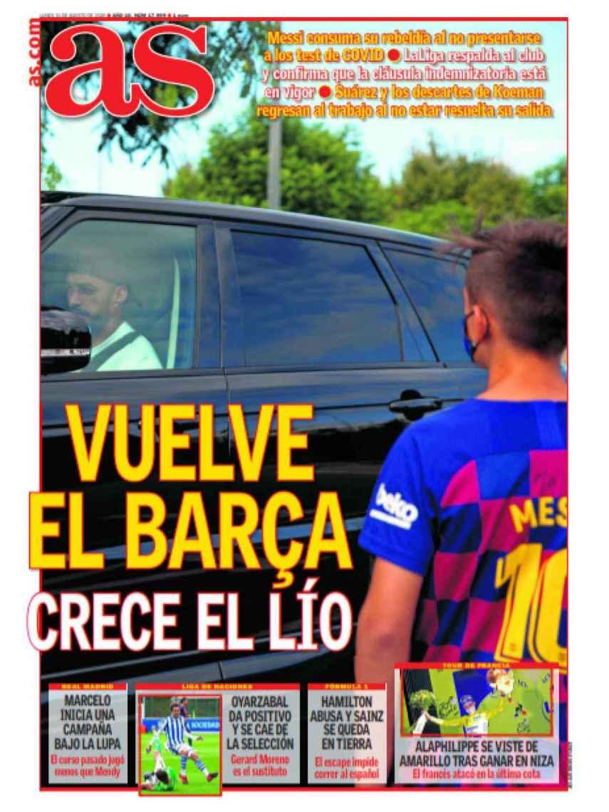 La portada del diario AS (31/08/2020)