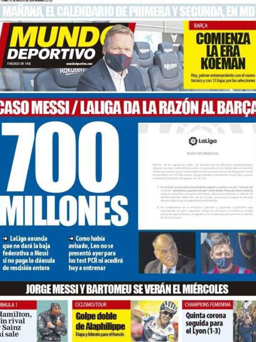La portada del diario Mundo Deportivo (31/08/2020)