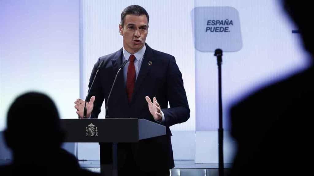Sánchez, durante su discurso en el evento 'España puede'.