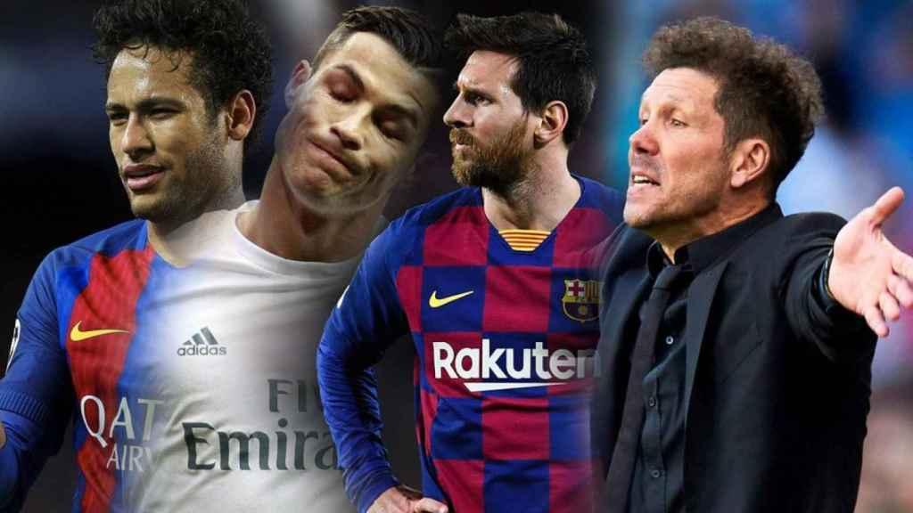 Neymar Jr, Cristiano Ronaldo, Leo Messi y Diego Pablo Simeone