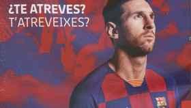Una pancarta de Leo Messi en el Camp Nou