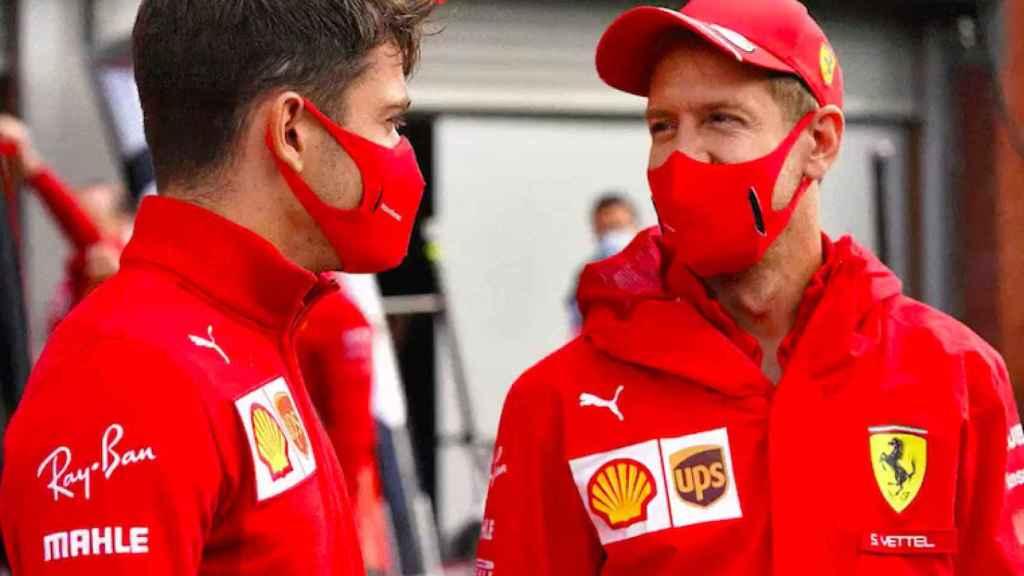 Leclerc y Vettel charlan amigablemente