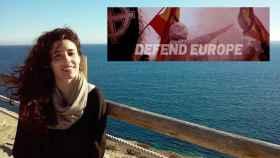 Rocío de Meer, diputada de Vox por Almería, junto a la imagen que utiliza el grupo neonazi Amenece Europa.