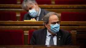 El presidente de la Generalidad, Quim Torra, durante un pleno extraordinario que solicitó en el Parlamento Autonómico de Cataluña.