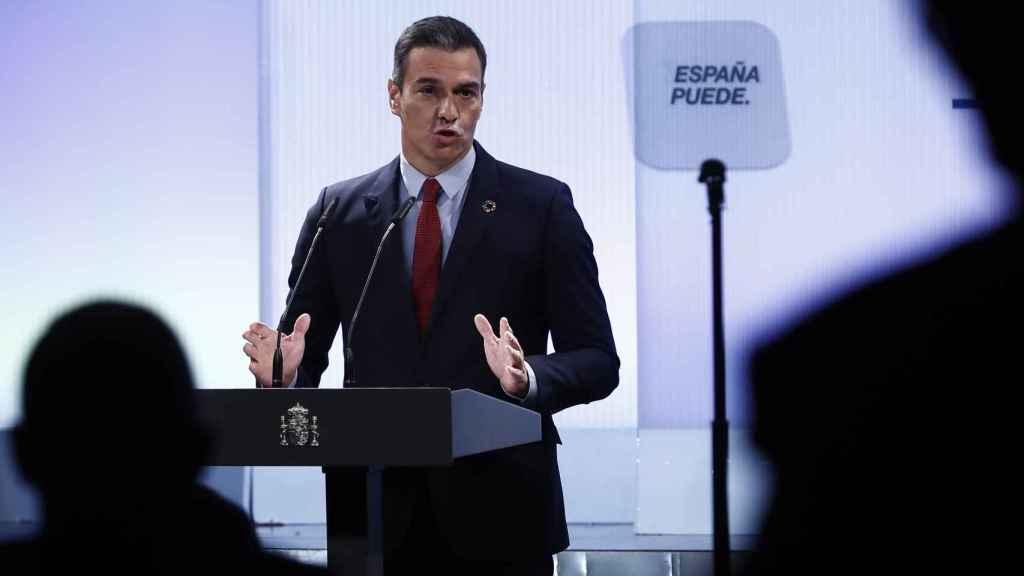Pedro Sánchez, durante un momento del acto del lunes junto a los empresarios del Ibex 35.