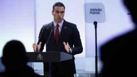 Pedro Sánchez, durante un momento del acto del pasado lunes junto a los empresarios del Ibex 35.